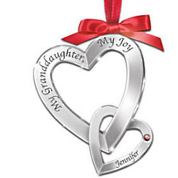 My Granddaughter, My Joy Heart-Shaped Birthstone Ornament