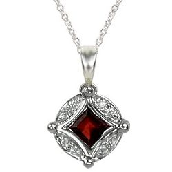 Sterling Silver Diamond and Garnet Changeable Pendant