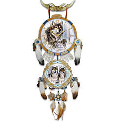 Timeless Spirits Native American-Inspired Wolf Art Wall Clock