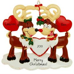 Personalized Kissing Rudolph Reindeer Couple Ornament