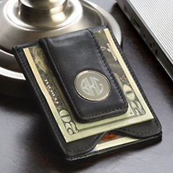 Monogrammed Leather Wallet with Money Clip
