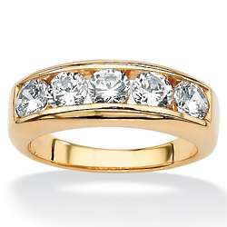 Men's Round Cubic Zirconia 18K Gold Over Sterling Wedding Band
