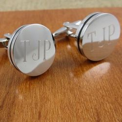 Personalized Pin Stripe Silver Tone Cufflinks