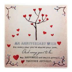 Happy Anniversary Ceramic Tile
