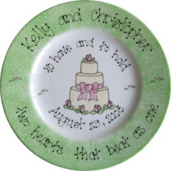 Hand Painted Wedding Cake Plate