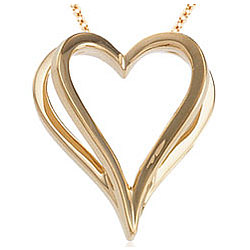 14k Yellow Gold Open Heart Pendant