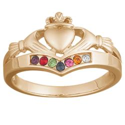 18K Gold over Sterling Family Birthstone Claddagh Ring