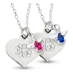 Girl's Angel Birthstone Necklace and Keepsake Box