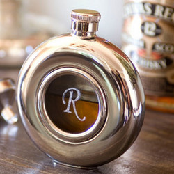 Round Stainless Flask with Glass Center