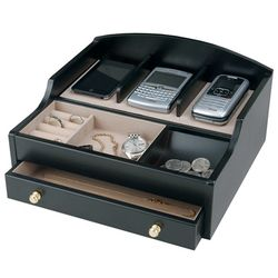 Men's Wood Charging Valet and Electronics Station Box