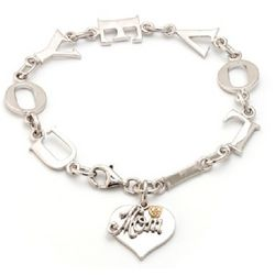 Diamond Heart Written Mom I Love You Bracelet