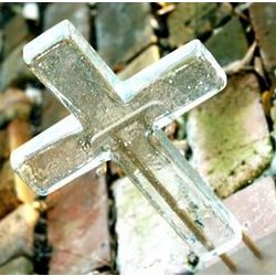 Large Glass Crystal Hope Cross with Stand