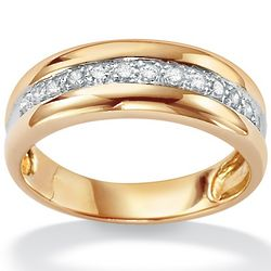 Men's Diamond Accent Gold Over Sterling Silver Wedding Ring