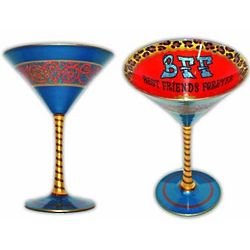 BFF Handpainted Reverz-Art Martini Glass