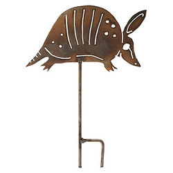 Armadillo Steel Lawn Stake Sculpture