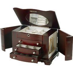 Rita Locking Jewelry Box with Pearl Pulls in Cherry
