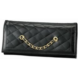Black Quilted Leather Travel Jewelry Wallet