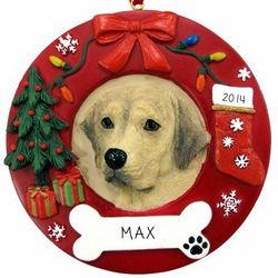 Personalized Yellow Lab Ornament Wreath