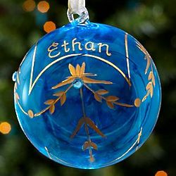 Blue Zircon Personalized December Birthstone Ornament