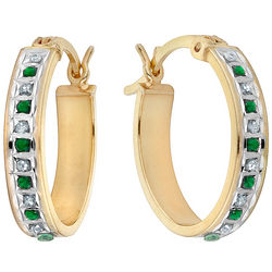 Emerald and Diamond Oval Hoop Earrings