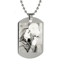 "1.5"" Stainless Steel Dog Tag Photo Pendant"