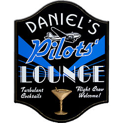 Handcrafted Pilots Lounge Pub Sign