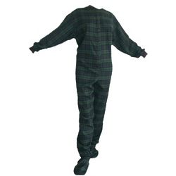 Blue and Green Plaid Flannel Footed Pajamas
