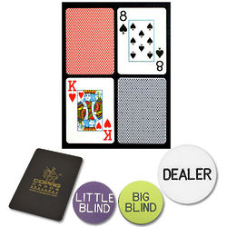 Poker Sized Plastic Playing Cards and Dealer Kit