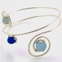 Eco-Friendly Sterling Silver Bangle with Blue Beads