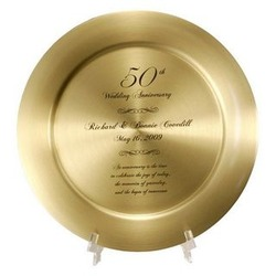 50th Anniversary Solid Brass Plate