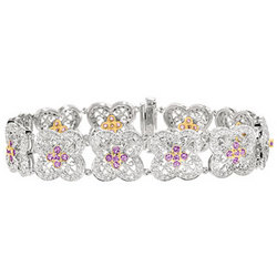 14k Two Tone Gold Pink Sapphire Diamond Bracelet