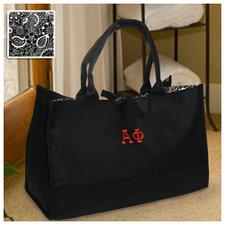 Greek Personalized Damask Tote Bag