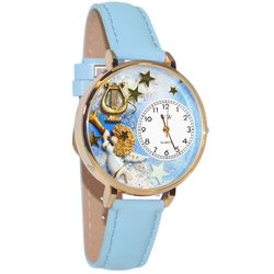 Large Angel with Harp Whimsical Watch in Large Gold Case