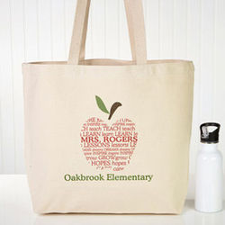 Personalized Apple Scroll Tote Bag for Teacher