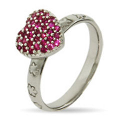 Stackable Reflections Pink Pave Heart Ring