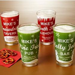 Personalized Holiday Spirits Pint Glass Set