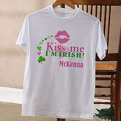 Personalized Kiss Me I'm Irish T-Shirt