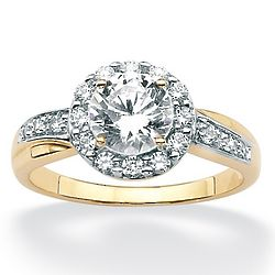 Round Cubic Zirconia 10K Yellow Gold Engagement Anniversary Ring