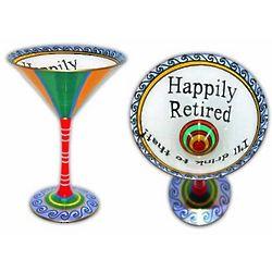 Happily Retired Handpainted Martini Glass