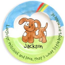Boy's Puppy Personalized Birth Plate