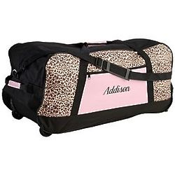 Pink Leopard Script Personalized Large Rolling Duffel Bag