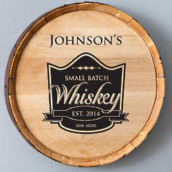 Black Small Batch Whiskey Barrel Sign