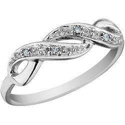 10K White Gold Infinity Diamond Promise Ring