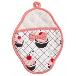 Cherry Cupcake Scalloped Pot Mitt with Bow