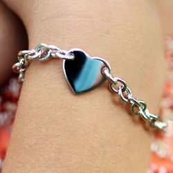Girl's Sterling Silver Heart Tag Charm Bracelet