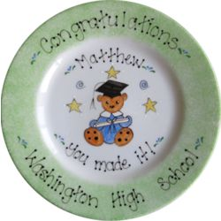 Hand Painted Teddy Bear Graduation Plate