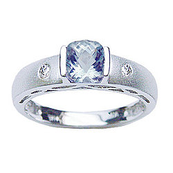 Diamond & Aquamarine Ring in 14K White Gold