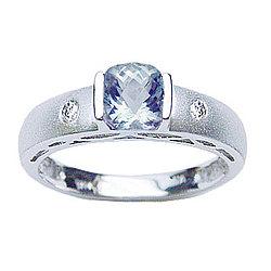 Diamond & Aquamarine Ring in 14K White Gold
