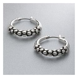 Silver-Tone Etched Hoop Earrings