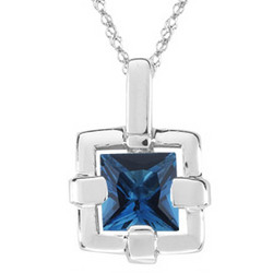 London Blue Topaz Solitaire Pendant in Silver